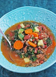 Hearty Chicken Chorizo, Kale, Bean and Farro Soup Recipe - Jeanette's Healthy Living