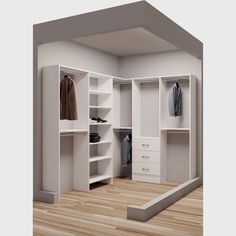 TidySquares White Wood 75 x Walkin Closet System (White)(Laminate) Walk In Closet Design, Wardrobe Design, Closet Designs, Attic Storage, Closet Storage, Closet Organization, Corner Closet Organizer, Closet Shelves, Corner Shelves