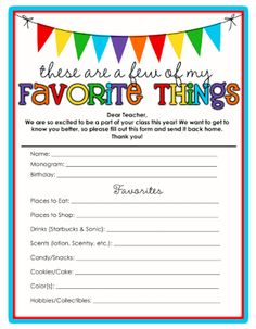 Teacher's Favorite things free printable