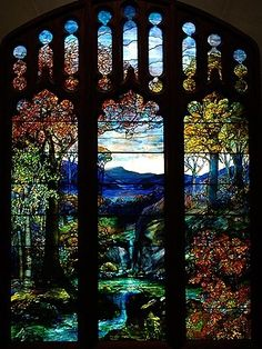 Stained glass widow by Louis Comfort Tiffany, Metropolitan Museum of Art by tammie