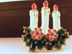 Vintage Christmas Brooch Enamel Candles via Etsy