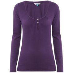 White Stuff Long Sleeve Plage T-Shirt, Purple ($40) ❤ liked on Polyvore