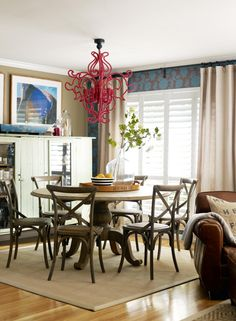 Love the red chandelier!