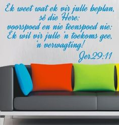 BYBEL VERS JEREMIAH 29:11 (AFRIKAANS) INSPIRATIONAL BIBLE VERSE WALL ART STICKER EXTRA LARGE VINYL DECAL – Vinyl Lady Decals Bible Verse Wall Art, Scripture Quotes, Bible Verses, Vinyl Decals, Wall Decals, Afrikaans, Wall Quotes, Fun Facts
