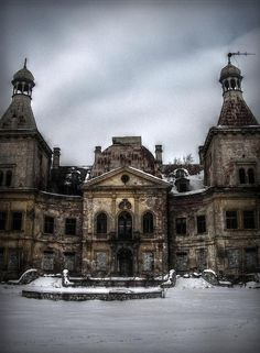 Abandoned palace in Manczyce, Poland.