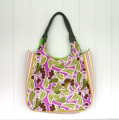 Purple green large tote olive brown cotton pink by maplemist