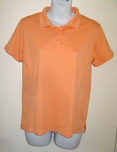 Size M COLUMBIA Womens Orange Omni-Shade Performance Athletic Polo Shirt Top