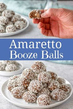 Be everyone's hero by serving these delicious Amaretto booze balls at your next party! They are a fun boozy treat, but keep them away from the kiddos! Candy Recipes, Holiday Recipes, Cookie Recipes, Dessert Recipes, Holiday Baking, Christmas Desserts, Christmas Candy, Just Desserts, Delicious Desserts