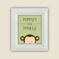 Mommys Little Monkey Printable Peekaboo Wall Art Digital JPEG File Nursery Decor. $10.00, via Etsy.