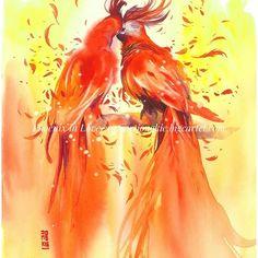 "Fire  Madness Part 2 - ""Phoenix in Love"" Watercolor on Canson Montval  size 29,7x42cm  Available now in my store artjongkie.bigcartel.com  #watercolor #illustration #painting #artwork #watercolour #birds #phoenix by #jongkie"
