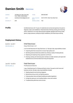 Example Of Cv Custom Free Electrician Resume Sample Template Example Cv Resume .