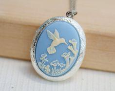 Hummingbird Locket,Locket,Silver Locket,Image locket,picture locket,Wedding Necklace,Flower,Blue Locket