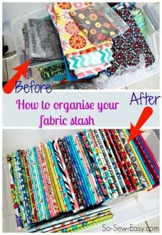 How to Organise Your Fabric Stash: Fabric envy! How to fold and organise your fabric stash. Makes things so much easier to find and match. Sewing Room Storage, Sewing Room Organization, Craft Room Storage, Sewing Rooms, Craft Rooms, Studio Organization, Organization Ideas, Craft Space, Storage Ideas