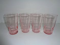 Pink Depression Glass Drinking Glasses Set by CountryGirlsVintage