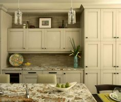 Transitional Island Style Cream kitchen, white cabinets, Maria Nutt, Atlanta