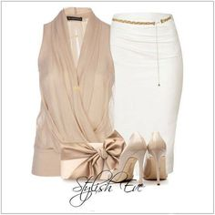 CHATA'S DAILY TIP: Looking for that perfect outfit to wear to a wedding, cocktail party or a night out on the town? A gorgeous chiffon wrap top with a shaped white pencil skirt and complementing accessories in either nude tone or gold tones is just the ticket. COPY CREDIT: Chata Romano Image Consultant, Samantha Moir http://chataromano.com/consultant/samantha-moir/ IMAGE CREDIT: Stylish Guru's Facebook page
