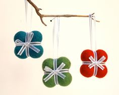 Festive Holiday Ornaments, Christmas Tree Gift decoration tree needle felted wool present bow red blue green Hanging Colorful large 3 by Fairyfolk on Etsy https://www.etsy.com/listing/87355242/festive-holiday-ornaments-christmas-tree