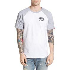 Vans 'Flockup' Logo Raglan T-Shirt (£18) ❤ liked on Polyvore featuring men's fashion, men's clothing, men's shirts, men's t-shirts, j crew mens shirts, mens two tone dress shirts, mens raglan t shirt, mens short sleeve t shirts and mens raglan shirt
