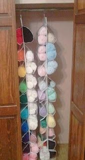 Use a shoe organizer for yarn storage. My husband will love this. No more yarn everywhere lol