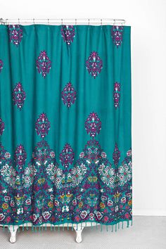 Shower Curtain Plum & Bow Blomma Shower Curtain gold for the home {Before & After} The Guest Bath Love Your Little House: Teal Shower Curtains, Colorful Shower Curtain, Bathroom Curtains, Dorm Bathroom, Bohemian Shower Curtain, Peacock Shower Curtain, Bathroom Ideas, Bohemian Bathroom, Roman Curtains