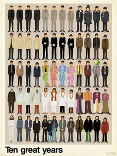 """the Beatles illustrated over """"ten great years"""" by max dalton @Vanessa Burrowes"""