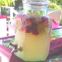 Quick and easy Sangria!  1 bottle of Chardonnay 3 cans of Fresca Strawberries Peaches Lemons  Yum!!!!!!!!!!!