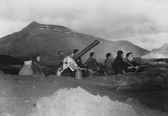 """Defending Dutch Harbor, Alaska during the Japanese air attacks of June 3-4, 1942."" (US Navy)"