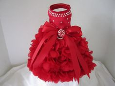 "Dog Dress  XS Red  Hearts with Swarovski Crystals  By Nina's Couture Closet ""Exclusive  Line Bella """