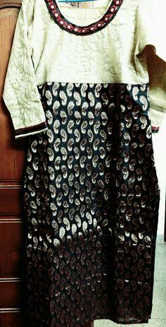 Designer #kurti #cream #black