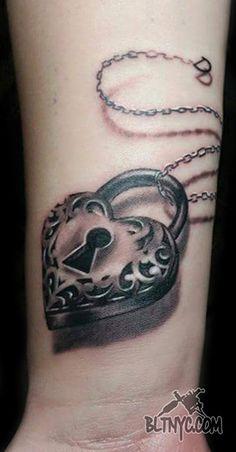 3D Heart Locket Key Chain Tattoo by Rain at BLTNYC Tattoo Shop Queens #tattoo #cutetattoo #wristtattoo #tattoosforgirls