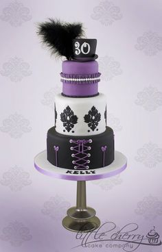 Purple and Black Burlesque Cake - by littlecherry @ CakesDecor.com - cake decorating website