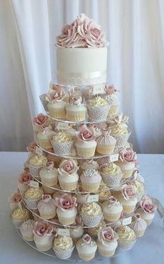 Beautiful cupcake tower with wedding cake #weddingcakes Pretty Cupcakes, Wedding Cakes With Cupcakes, Cupcake Cakes, Simple Cupcakes, Cupcake Tower Wedding, Wedding Cupcakes Display, Winter Wedding Cupcakes, Sweet 16 Cupcakes, Shabby Chic Cupcakes