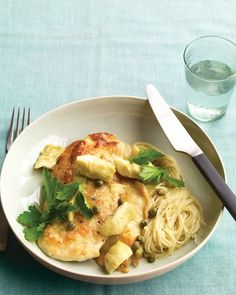 Chicken with Artichokes and Angel Hair - Martha Stewart Recipes