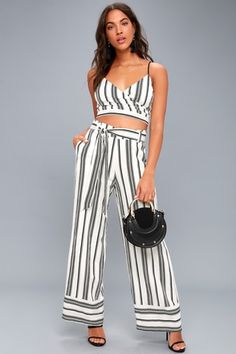 Elspeth Black and White Striped Two-Piece Jumpsuit 1