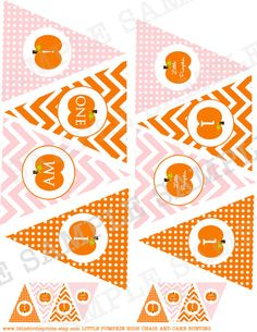 Pumpkin First Birthday Party HIGH CHAIR Bunting banner and Cake Bunting - Fall Girl Chevron and Polka Dot INSTANT download on Etsy, $6.00