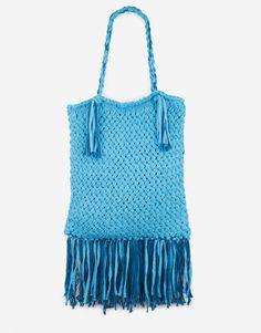 Blue knit bag with amazing fringe! Love it!    01 night fever bag atlantisblue vintageblue