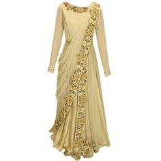 J by Jannat presents Beige dabka and thread embroidered draped anarkali set available only at Pernia's Pop-Up Shop. Indian Fashion Dresses, Indian Gowns Dresses, Indian Designer Outfits, Muslim Fashion, Pakistani Dresses, Indian Outfits, Designer Dresses, Long Gown Dress, Saree Dress
