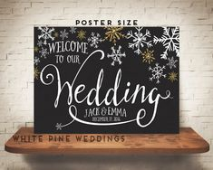 Hello! Thank you for choosing White Pine Weddings to celebrate your big day! holiday wedding, christmas, christmas wedding, indie lights, string lights, gold, gold foil, gold glitter, stars. merry and bright, marry and bright, marry, wedding welcome sign, snowflakes, snowflake, gold snowflake, gold sparkle