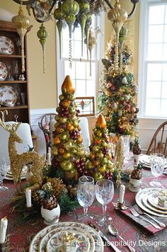 Christmas tablescape, Housepitality Designs, different colors and trees--but I really love the reindeer and ornament scene