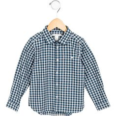 Pre-owned Marie Chantal Girls' Gingham Button-Up Top (215 BRL) ❤ liked on Polyvore featuring blue