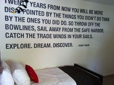 a Mark Twain quote painted on kid's room wall