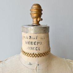 Linked Choker necklace  vintage 1970s gold choker  by DearGolden