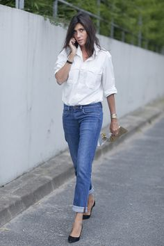 emmanuelle alt classic button-down and denim
