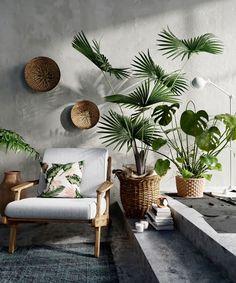 hygee home interiors Interior Tropical, Interior Plants, Cafe Interior, Interior Design, Luxury Interior, Tropical Design, Tropical Decor, Tropical Plants, House Plants Decor