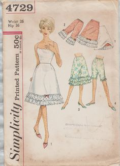 Vintage 60s Sewing Pattern / Simplicity 4729 / Slip Petticoat Pettipants Lingerie / Waist 26
