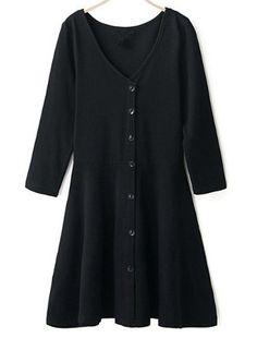 V Neck Buttons Slim Black Dress