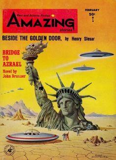 "Pulp Sci Fi: ""Amazing Stories"" [February] / Stories: ""Beside the Golden Door"" [Henry Slesar] / ""Bridge to Azrael"" [John Brunner] Art Science Fiction, Science Fiction Magazines, Pulp Fiction, Fiction Novels, Fiction Stories, Books Art, Sci Fi Books, Arte Sci Fi, Sci Fi Art"