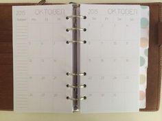 DIN A6 - 2016 Monatsübersicht, Kalender, Filofax Personal - ein Designerstück von NaJero bei DaWanda