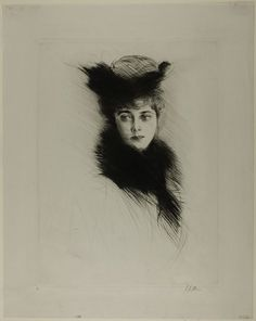 Portrait of Mme. Cheruit Wearing a Fur Collar - Paul César Helleu