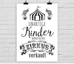 Kunstdruck A4 Unartige Kinder werden an den Zirkus verkauft